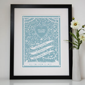 Personalised Wedding Ribbon Print - 100 best wedding prints