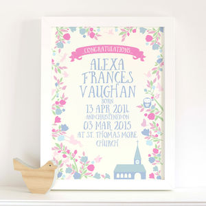 Personalised Girls Christening 'Midsummer' Print