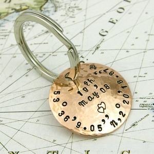 Personalised Copper Coordinate Key Ring - keyrings