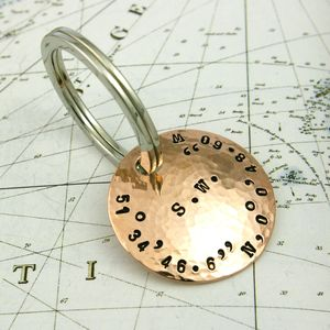 Personalised Copper Coordinate Key Ring