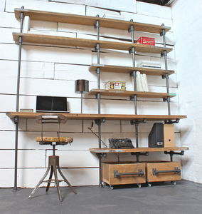 Caroline Wood And Pipe Industrial Desk And Shelves - furniture