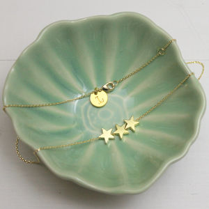 Gold Stars Initial Necklace