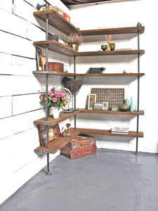Malin Reclaimed Wood Corner Shelving Unit - office & study