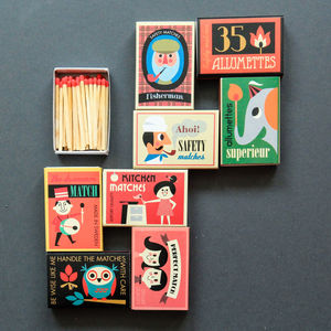Set Of Eight Boxes Of Matches - fireplace accessories