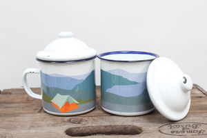 Enamel Mug With Tent Design - camping