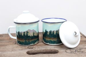 Enamel Mug With Lake And Forest Design - feeling cosy - hygge home ideas