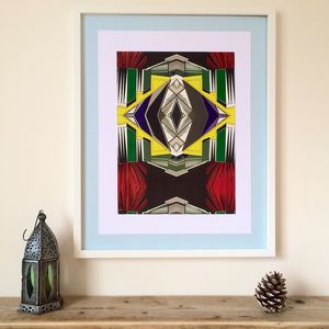 Large Colourful Ethnic Abstract Geometric Print Two - art & pictures