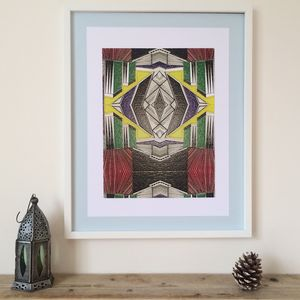 Large Colourful Ethnic Abstract Geometric Print One