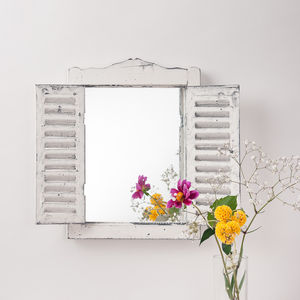 Outdoor Wooden Shutter Mirror