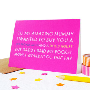 Personalised 'Daddy Said' Mother's Day Card