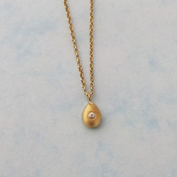 Gold And White Sapphire Nugget Necklace