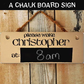 Personalised 'Wake Me At' Wooden Door Sign