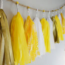 Yellow, Gold And White Tissue Paper Tassel Garland