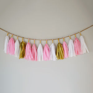 Pink, Gold And White Tissue Paper Tassel Garland