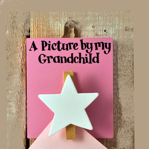 'Picture By My Grandchild' Pink Peg Board - bedroom