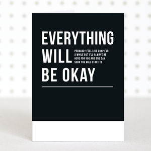 'Everything Will Be Okay' Get Well Sympathy Card - shop by category