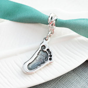 Personalsied Silver Cutout Footprint Charm On Carrier