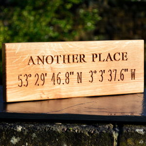 Engraved Oak Personalised Co Ordinate Sign - 5th anniversary: wood