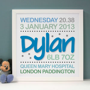 Personalised Birth Announcement Word Art