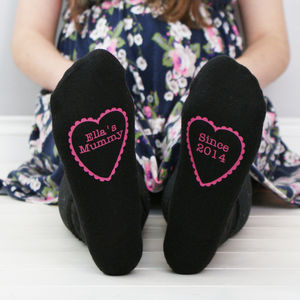 Personalised Women's Heart Socks - gifts from younger children