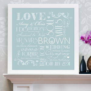 Personalised Wedding Typographic Art Print