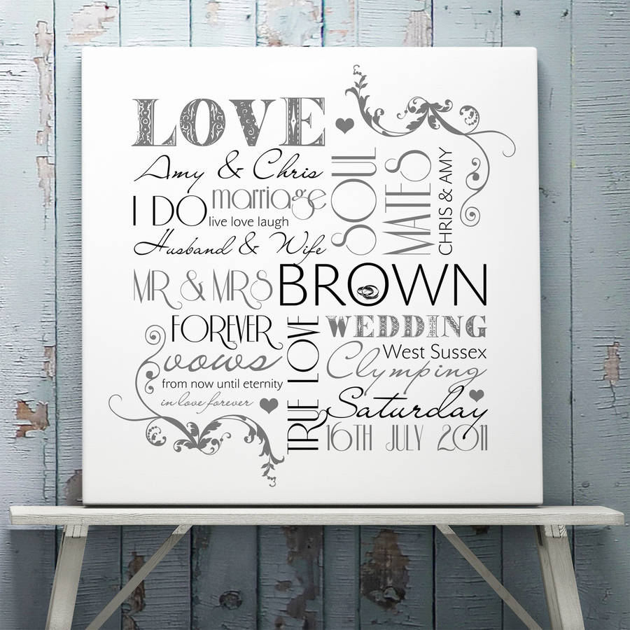 Personalised Wedding Typographic Art Print White Stretched Canvas