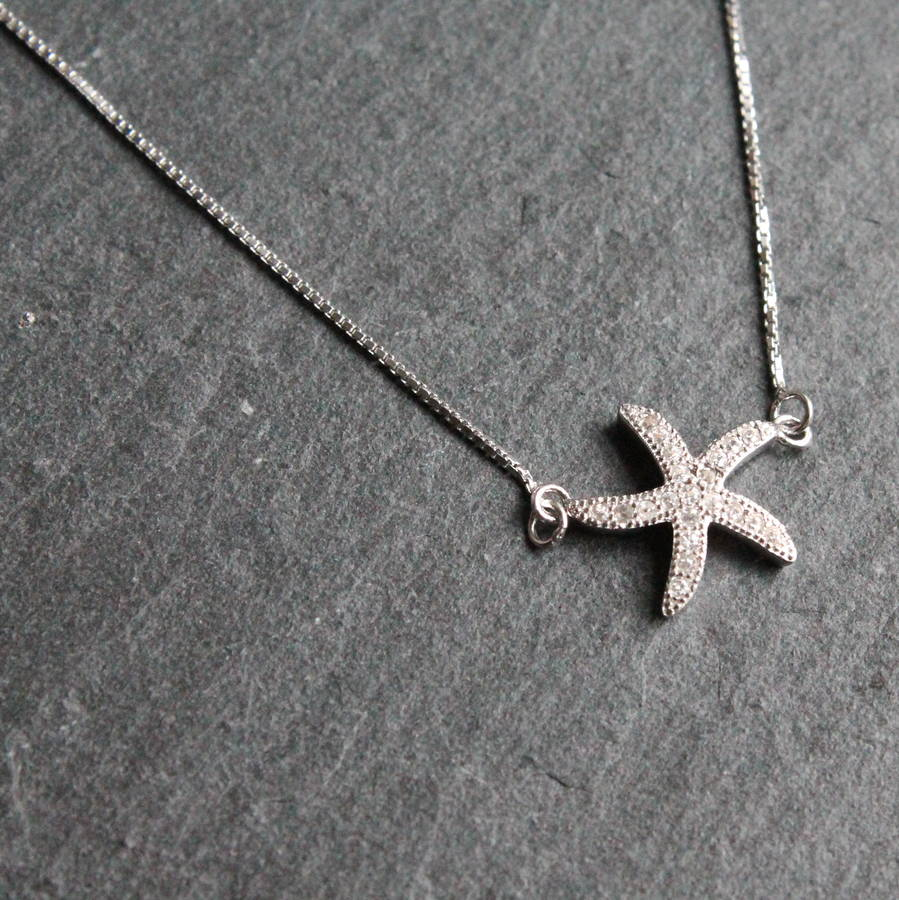 sterling silver starfish necklace by attic