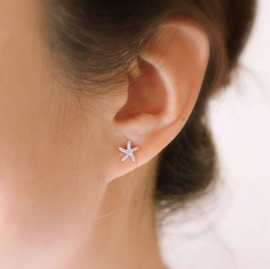 Sterling Silver Zirconia Starfish Earring Studs