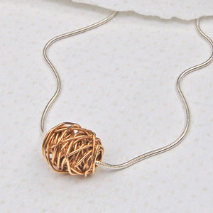 Silver And 14ct Yellow Gold Entwined Necklace