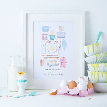 'Eggs In The Morning' Kitchen Illustration Print