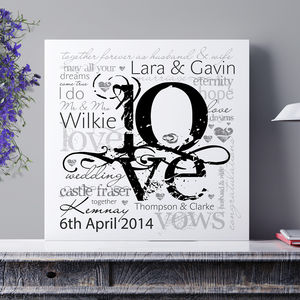 Personalised Wedding or Engagement LOVE Art - engagement gifts