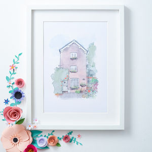 Personalised House Portrait Illustration Print - canvas prints & art