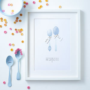 Personalised 'Spooning' Anniversary/Valentines Print - drawings & illustrations