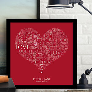 Personalised Heart Word Art Print - canvas prints & art