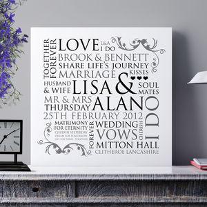 Personalised Wedding Word Design Print