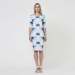 Mirror Wave Print Bodycon Dress - women's fashion