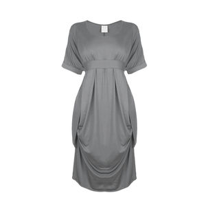 Short Sleeve Drape Side Dress - dresses