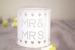 Mr And Mrs Cut Out Wedding Tea Light Holder - candles & candle holders