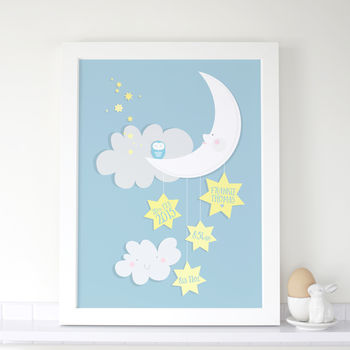 Personalised Baby Birth Print With Moon And Stars