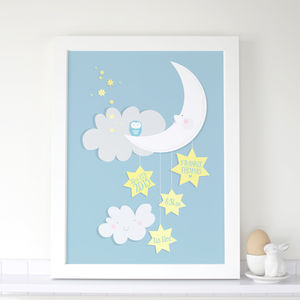 Personalised Baby Moon And Stars Print - nursery pictures & prints