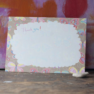 Six Butterfly Pattern Thank You Postcards