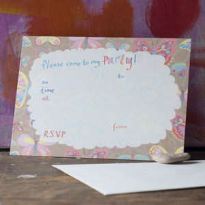 Butterfly Pattern Party Invitations - children's parties