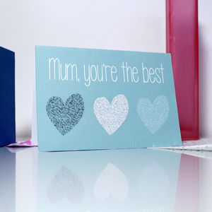'Mum, You're The Best' Heart Pattern Card - mother's day cards