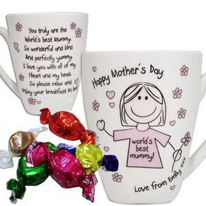 Happy Mothers Day Mummy Floral Girl Personalised Mug - gifts for the home