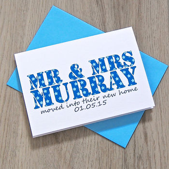 Personalised Mr And Mrs New Home Card