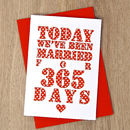 Personalised Days Of Marriage Card