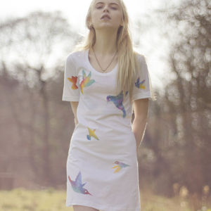 Hand Painted Hummingbirds Dress - dresses