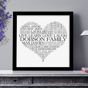 Personalised Heart Family Word Art Print - prints & art