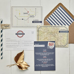 Vintage London Wedding Invitation - invitations