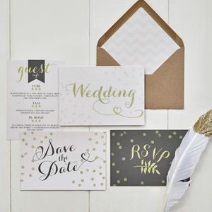 Glitter Glam Wedding Invitation - invitations